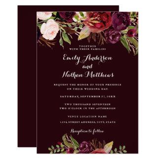 Burgunderblumenfrühlings-Hochzeits-Einladung Karte