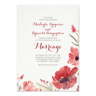 Burgunderwatercolor-niedliche mit Blumenhochzeit 12,7 X 17,8 Cm Einladungskarte