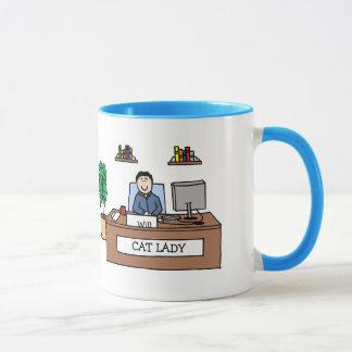 Büro-Katzen-Dame - personalisierte Cartoon-Tasse Tasse