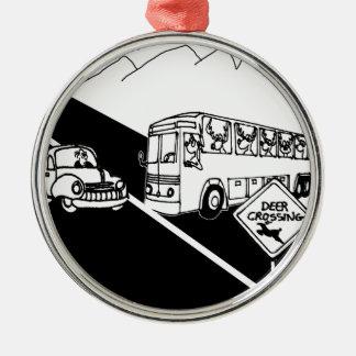 Bus-Cartoon 3251 Rundes Silberfarbenes Ornament