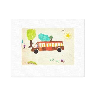 Bus, der durch Kind zeichnet Leinwanddruck