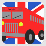 Bus in London Sticker Carré