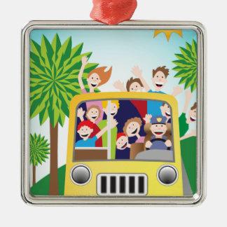 Bus-Reitleute-Cartoon Silbernes Ornament