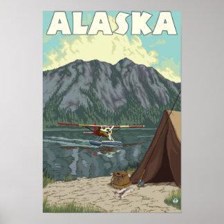 Bush-Flugzeug und Fischerei des Vintagen Poster