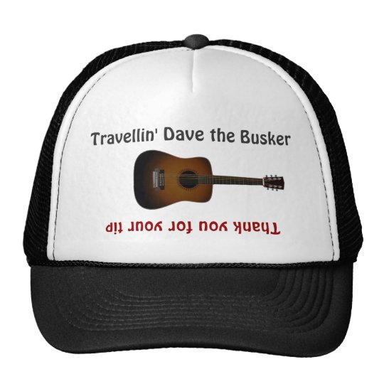 Busker-Musiker-Gitarren-Spitze-Glas-Hut Netzkappe