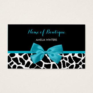Butikechic-Giraffen-Druck-Aqua-blaues Band-Bogen Visitenkarte
