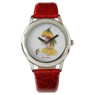 Butterblume-niedliches Blumen-Kinderkleines mit Armbanduhr
