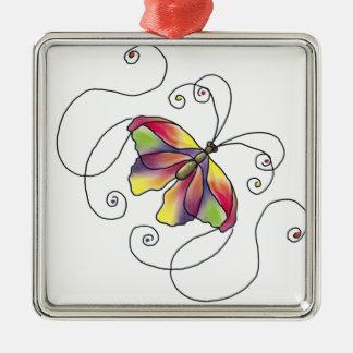 Butterfly Quadratisches Silberfarbenes Ornament