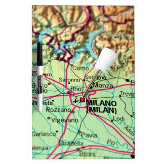 Button-Karte der Stadt von Mailand, Italien Trockenlöschtafel
