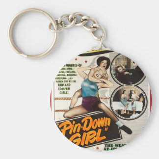 Button-unten Mädchen-Vintage Dame Wrestlers Poster Schlüsselanhänger