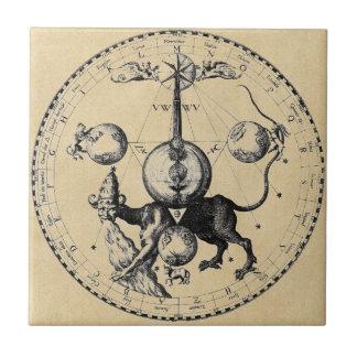 Cabala-Emblem-Mandala Kleine Quadratische Fliese