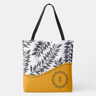 Cabana-Thema in der Holzkohle und im Weiß mit Gelb Tasche