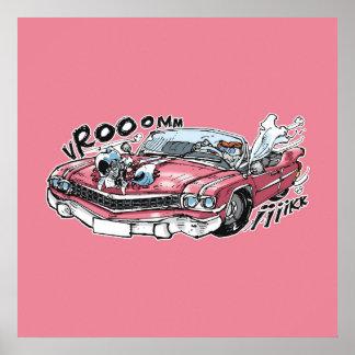cabbar Kuchen-Antrieb auf rosa Cadillac Poster