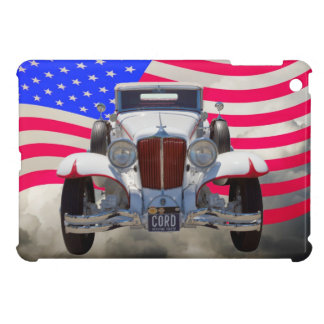 Cabriolet und amerikanische Flagge 1929 iPad Mini Hülle