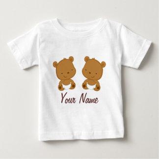 Cadeau personnalisé par ours jumel de bébé t-shirt pour bébé