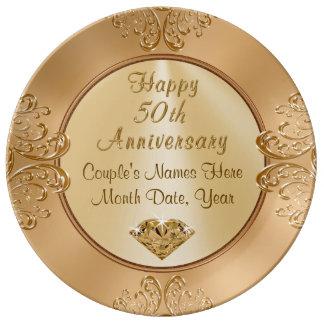 Cadeaux d'Anniversay de mariage d'or PERSONNALISÉS Assiette En Porcelaine
