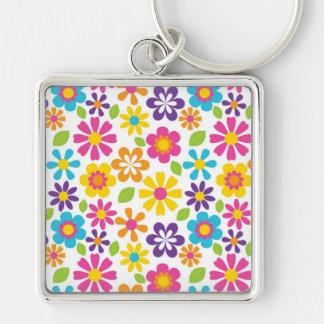 Cadeaux hippies d'ados de flower power porte-clé carré argenté