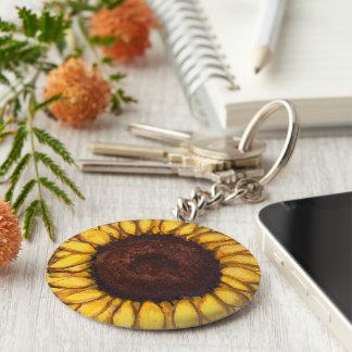 Cadeaux jaunes gais de fleur de porte - clés de porte-clé rond