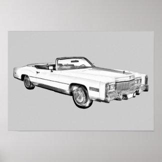 Cadillac-Eldorado-Kabriolett-Illustration 1975 Poster