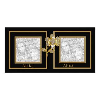 Cadre de fleur noire d'or de carte photo double photocarte