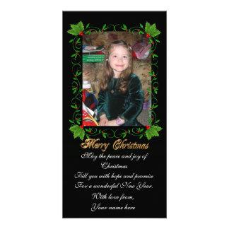 Cadre de houx de carte photo de Noël sur le noir Photocarte