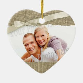 Cadre de photo d'impression de toile de jute avec ornement cœur en céramique