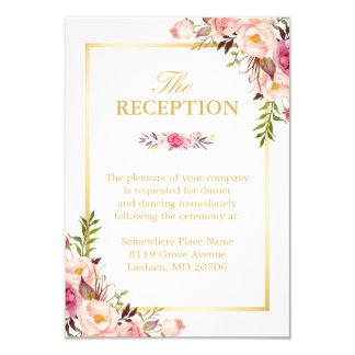 Cadre floral chic élégant d'or de réception de carton d'invitation 8,89 cm x 12,70 cm