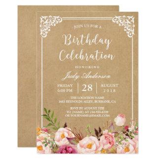 Cadre floral rustique Papier d'emballage de la Carton D'invitation 12,7 Cm X 17,78 Cm