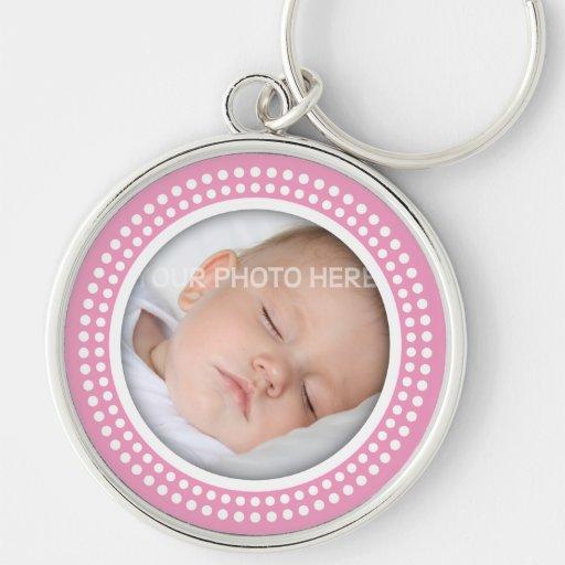 Cadre rose de photo de bébé - le blanc pointille l porte-clefs