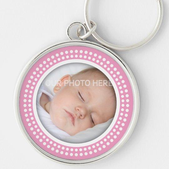 Cadre rose de photo de bébé - le blanc pointille porte-clé rond argenté