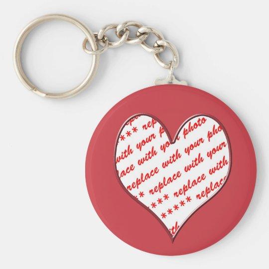 Cadre rouge en forme de coeur de photo porte-clé rond