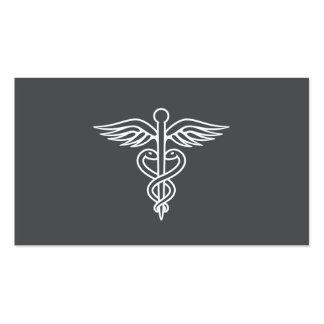 Caducée gris minimaliste moderne de médecin cartes de visite personnelles