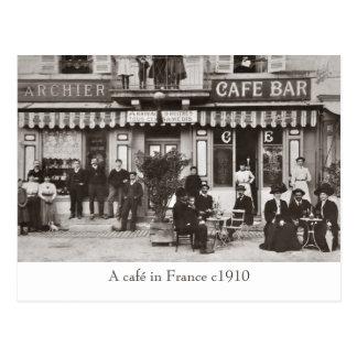 Café in der Frankreichsepiapostkarte Postkarte