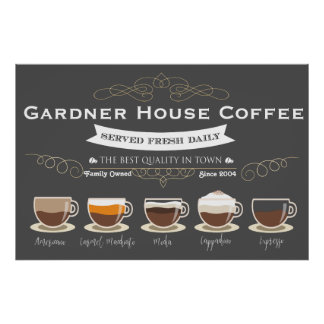 Café-Küchen-Wand-Kunst - personalisiertes 24x36 Poster