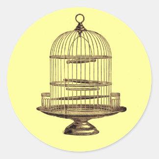 Cage à oiseaux vintage sticker rond