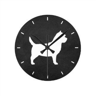 Cairn-Terrier-Silhouette Runde Wanduhr