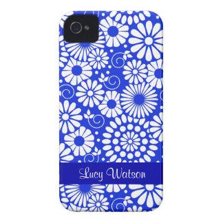 Caisse audacieuse bleu-foncé florale vintage de Bl Coques iPhone 4 Case-Mate