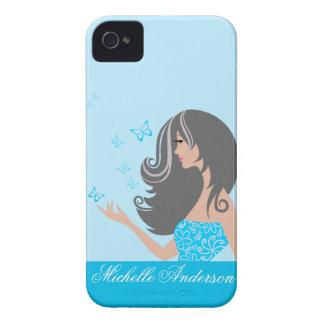 Caisse audacieuse de Blackberry de papillons bleus Étui iPhone 4