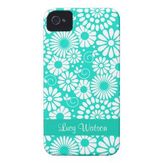 Caisse audacieuse de Blackberry de turquoise flora Coque iPhone 4 Case-Mate