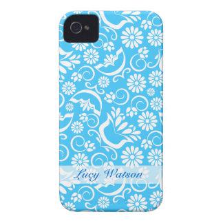 Caisse audacieuse florale bleue vintage de Blackbe Étui iPhone 4