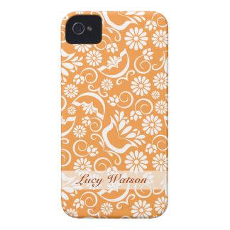 Caisse audacieuse florale orange vintage de Blackb Coques Case-Mate iPhone 4