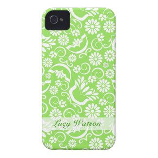 Caisse audacieuse florale verte vintage de Blackbe Coque iPhone 4 Case-Mate