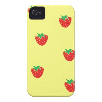 Caisse audacieuse jaune de Blackberry de fraises Coques iPhone 4 Case-Mate