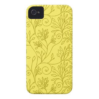 Caisse audacieuse jaune florale vintage de Blackbe Coques Case-Mate iPhone 4