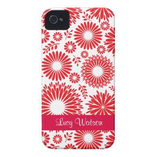 Caisse audacieuse rouge florale vintage de Blackbe Coque iPhone 4