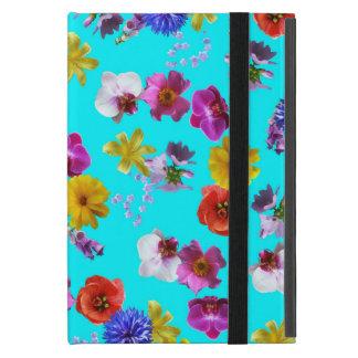 Caisse bleue florale coque iPad mini