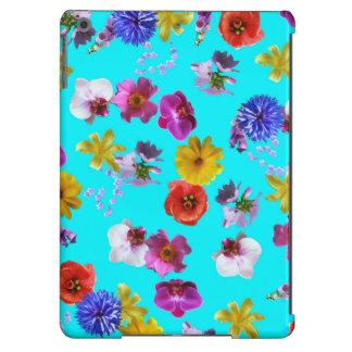 Caisse bleue florale coque iPad air
