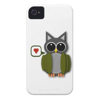 Caisse de Blackberry d'amour de hibou Étui iPhone 4