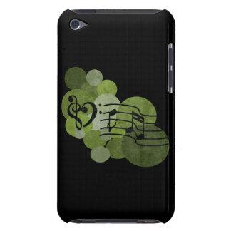 Caisse d'iPod de vert olive de notes et de pois de Coque Barely There iPod