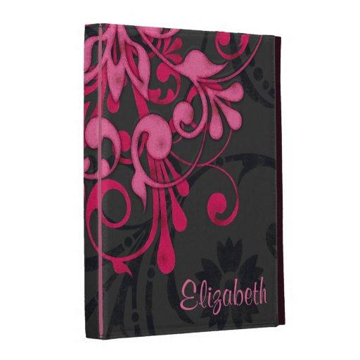 Caisse florale noire rose personnalisée de folio d étuis iPad folio